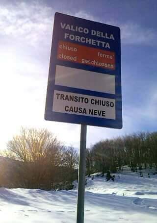 """Il Valico della """"Forchetta"""" sarà riaperto domani venerdì 14 aprile"""